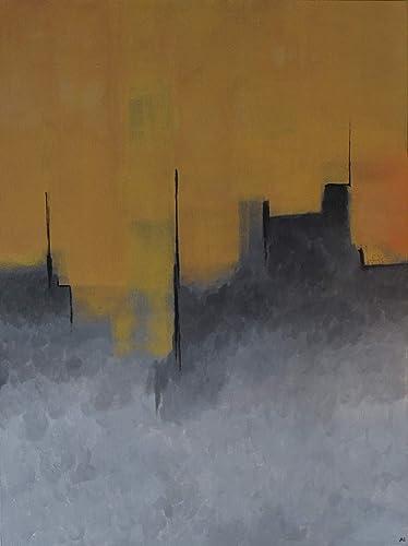 Amazon Com Abstract Cityscape Minimalist Yellow Gray