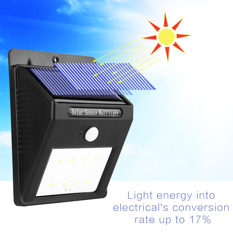 Miserwe Solar Led luces 2 Paquete Luz de Movimiento Solar 8 LED Sensor de Movimiento Led Luces Solares al Aire Libre Impermeable Inalámbrico Luz de ...