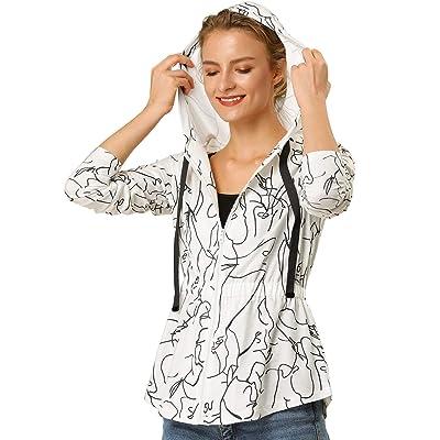 Allegra K Women's Zip Up Printed Drawstring Peplum Jacket at Amazon Women's Clothing store