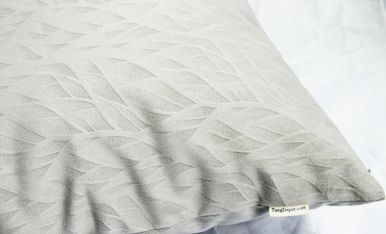 12x12, Charcoal Black Micro embossed Leaf texture and shape - 12x12 TangDepot.com TPCover-SolidLeaf-12x12CharcoalBlack TangDepot Solid Velvet Decorative Pillow Covers//Euro Pillow shams Micro embossed Leaf texture and shape - Super Soft Velour