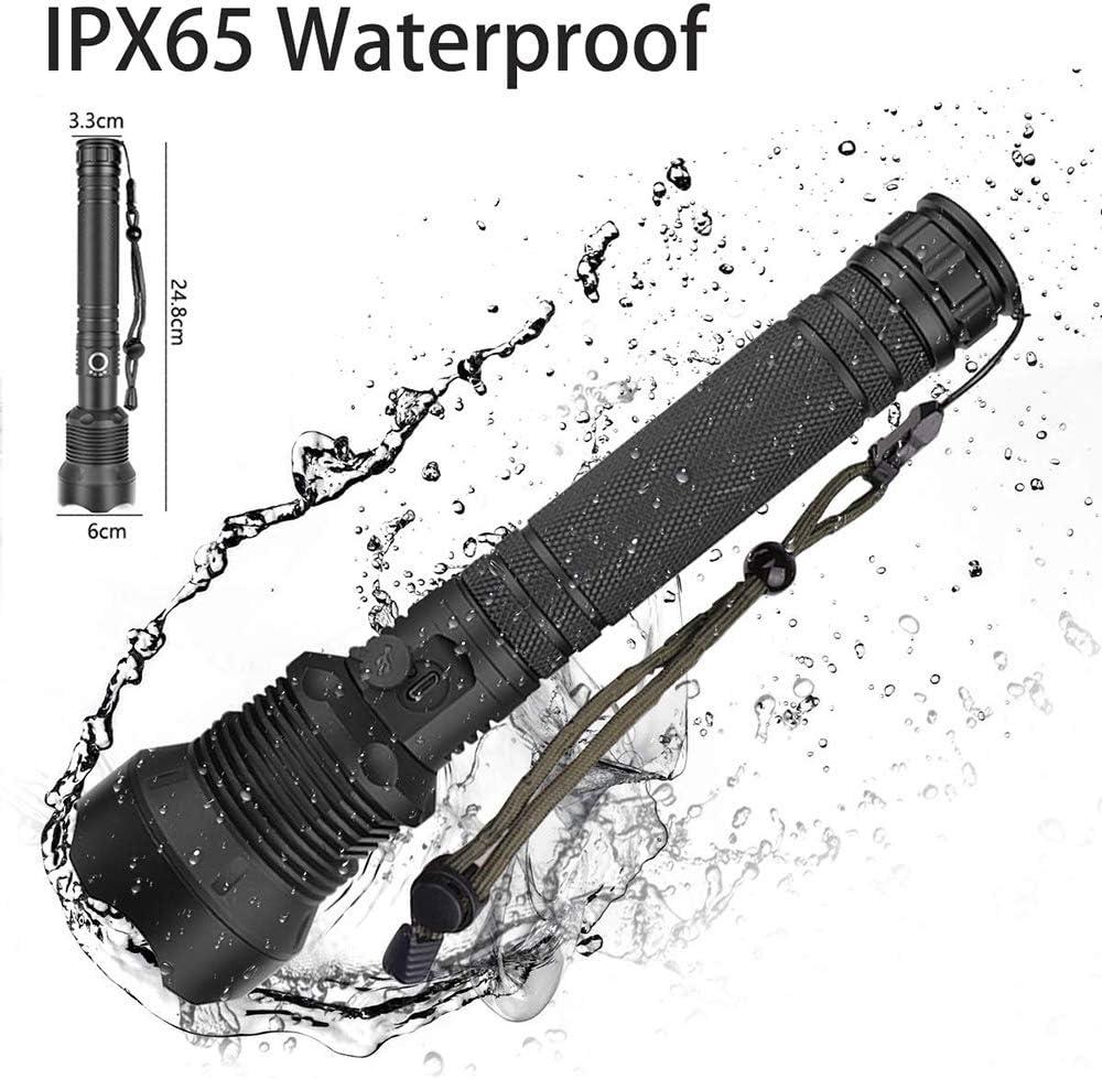 WSeasy XHP70 Lampe torche LED haute puissance 5000 lm avec batterie rechargeable et c/âble USB 3 modes avec fonction daffichage de la puissance