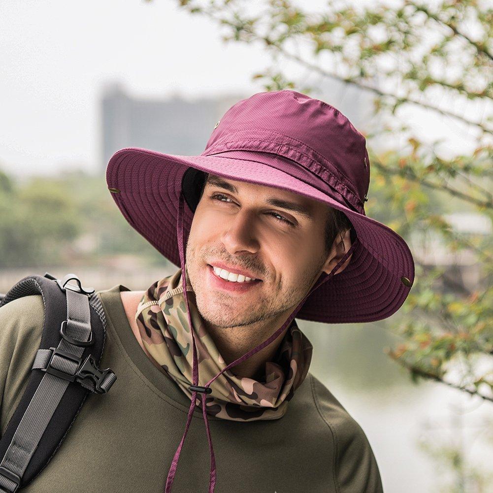 Balai Cappello da Sole Protezione UV Largo Cappello Cappello Pescatore Cappelli Uomo Estivo Tesa Larga Anti UV Boonie Bucket Hat Traspirante Caccia Pescatora Safari Sole Giardinaggio Cappelli
