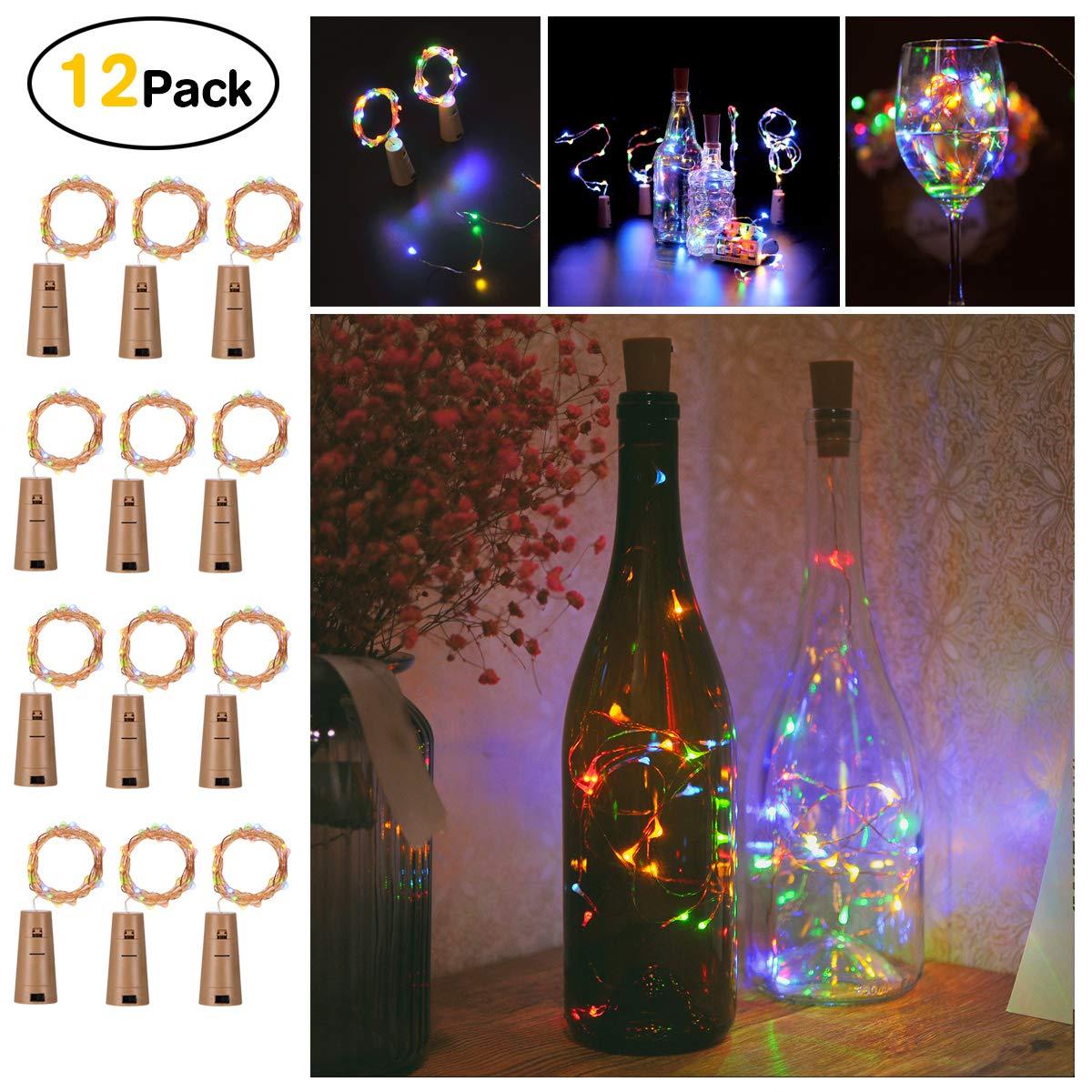 Bottles Lights, Sunniu 12 Packs Led Cork Copper Wire Starry Wine Bottle Fairy Lights, Battery Powered Cork Lights Multi Color Bottle Lights for Bedroom, Parties, Wedding, Decoration (2m/7.2ft Multi-Colored)