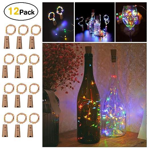 Sunniu 12 paquetes de luces LED de corcho, de alambre de cobre para botella de vino, con pilas, luces de corcho multicolor, para dormitorio, fiesta, ...