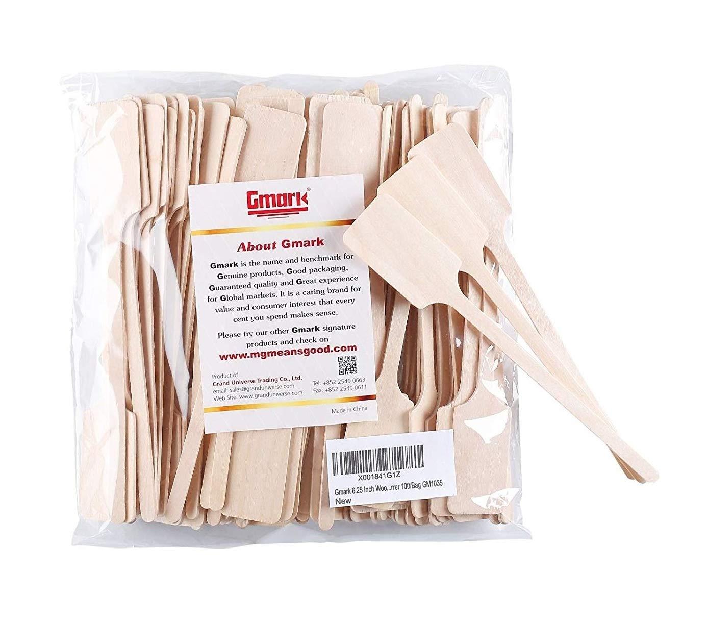 Gmark Green Product 6.25 Inch Wood Kayak Paddle Shape Sticks, Wood Stirrer for Honey, 100/Bag GM1035 by Gmark (Image #1)