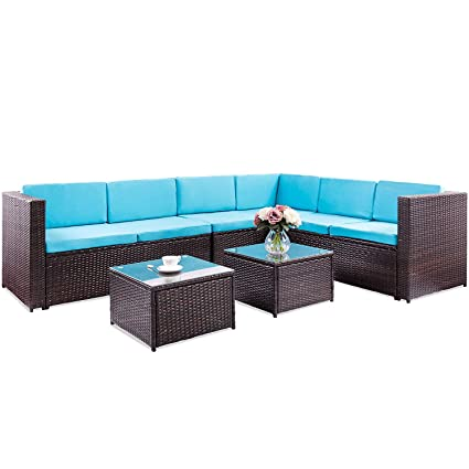 Amazon.com : FLIEKS Patio Furniture Set 5 Piece Outdoor Pool ...