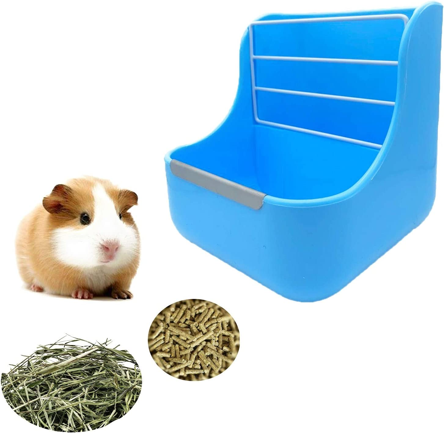 Mcgogo Rabbit Hay Feeders Rack,2 in 1 Feeder Bowls Double for Grass/Food for Small Animal Supplies Rabbit Chinchillas Guinea Pig Hamsters