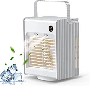 Portable AC Air Conditioner for Room, Box Cooler Fan with 3 Speed for Bedroom, 4000mAh Cordless Rechargeable 120° Oscillating Mini Cooling Fan with Sleep Night Light and Spray Mist Humidifier, White