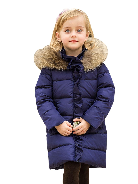Bambine e Ragazze Piumino Invernale 90% piume d'anatra bianca Giacche Cappuccio Pelliccia Sintetica Cappotto Bambina lunghe invernali YJH0012