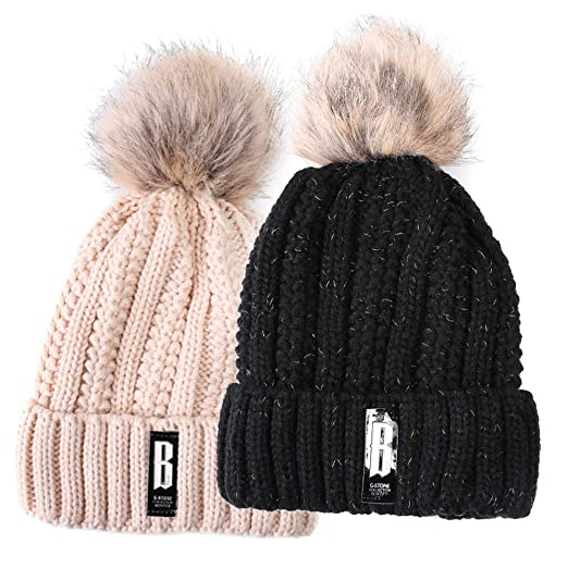 Valpeak Fleece Lined Women Winter Beanie Hats Faux Fur Pom Pom Beanie Hat  (2 pcs 0d9aac3897c