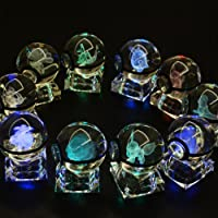 S-SO Cute K9 Crystal ball 3D Pokemon Elf Night Bedroom LED desk table RGB 7 colour changing Light lamp (Mewtwo)