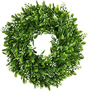 FIOEOZ 12 Inch Artficial Boxwood Leaves Wreath, Greenery Wreath for Decorate Door, Wall, Bedroom, Dining Room, Wedding, Birthdays, Stores and Parties