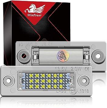 Winpower Led Kennzeichenbeleuchtung Glühbirnen Nummernschildbeleuchtung Lampe 3582 Smd Mit Canbus Fehlerfrei 6000k Xenon Kaltweiß 2 Stücke Auto