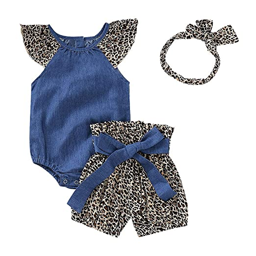 Amazon.com  Clearance Sale ! 3PC Infant Baby Girls Denim Fly Sleeve Jumpsuit  Romper+ Bow Leopard Print Shorts+Headbands Outfits  Clothing a22b1c9f6