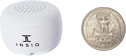 World s Smallest Portable Bluetooth Speaker – Great Audio Quality for its Size – 30 Feet Range – Photo Selfie Button Answer Phone Calls Compact Compatible with Latest Phone Software White