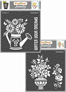 CrafTreat Flower Stencils for Painting on Wood, Canvas, Paper, Fabric, Floor, Wall - Watering Can and Rose vase - 2 Pcs - 6x6 Inches Each - Reusable DIY Art and Craft Stencils for Home Decor