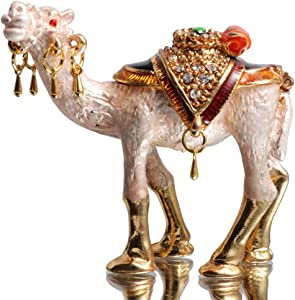 Waltz&FHand-Painted Camel Trinket Box Animal Jewelrybox Figurine Collectible Ring Holder Home Decor Holiday Gift
