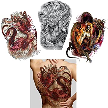 Amazon.com   3 Sheets Big Large Full Back Chest Tattoo Sticker Temporary  Dragon Decal for Women Men   Beauty 80e3aea5d