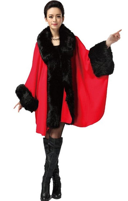 PENER Women's Faux Fox Fur Shawl Cloak Coat