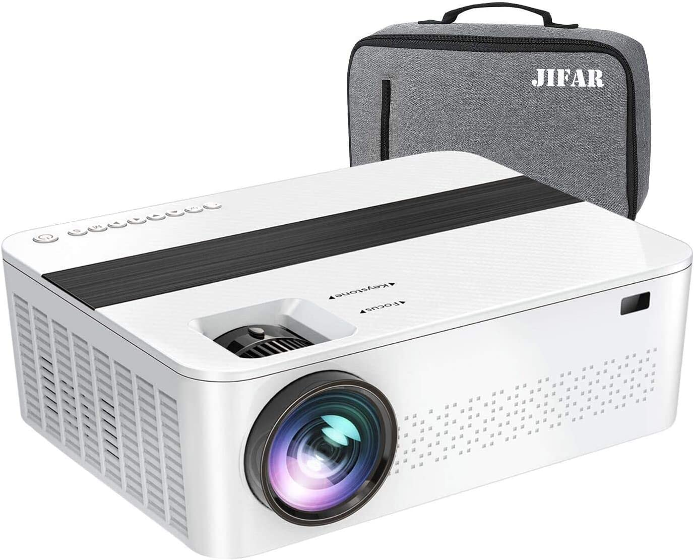 """JIFAR Native 1920x 1080P Projector 9000 Lux Upgrade Full HD Projector 4K with 450"""" Display, Christmas Projector Support 4K Dolby Video & Zoom ,Compatible with TV Stick,HDMI,VGA.USB,Smartphone,PC"""