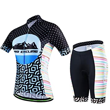 058c6a0a3c2db Hebike Blue Mountain Women s Cycling Bike Bicycle Short Sleeve Jersey 3D  Padded Shorts Set Outfit
