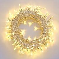 Qedertek Catena Luminosa, Cavo Bianco, Luci Stringa 22 Metri 200 LED, Addobbi Natalizi per Albero di Natale, Luce Natalizie per Decorazione Interno (Bianca Calda)