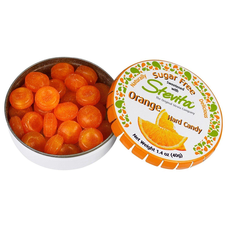 Stevita SteviaSweet Candy Natural Orange Flavor (6 Pack) - 1.4 Ounces - Sugar Free Hard Candy, Sweetened with Stevia - USDA Organic, Non GMO, Vegan, Kosher, Paleo, Gluten-Free - 156 Servings