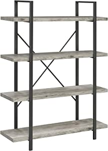 Coaster Home Furnishings 4-Shelf Grey Driftwood and Gunmetal Bookcase