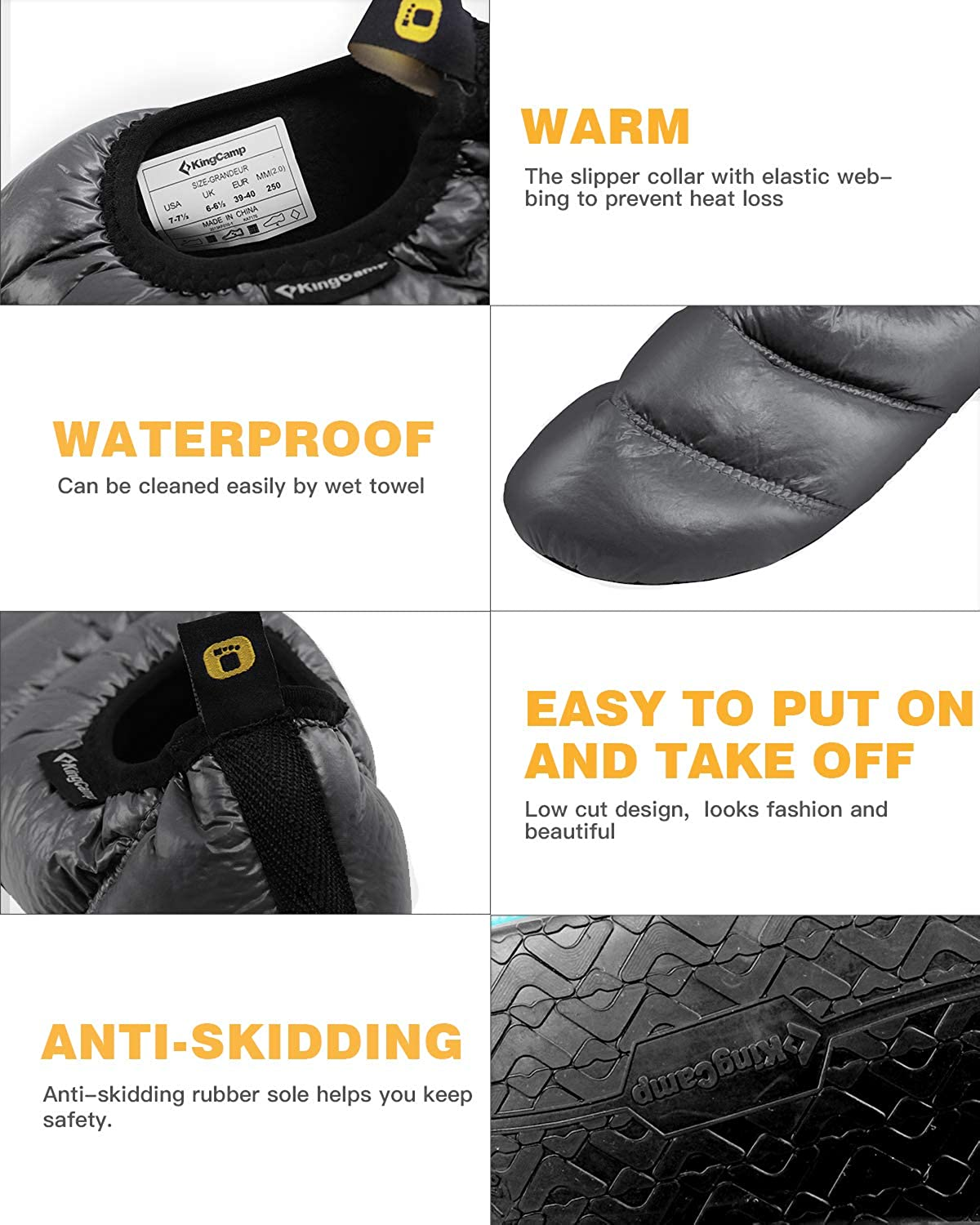 KingCamp Unisex Warm Camping Slippers Soft Winter Slippers with Non Slip Rubber Sole /& Carry Bag 7 Colors
