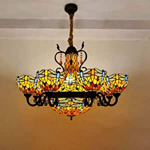 Large Tiffany Style Stained Glass 8 Arms Blue Dragonfly Composite Chandelier with 16 Inch Inverted Pendant Lighting, 8 Inch Crystal Beads Vintage Ceiling Light, Maroon Lampshade, E27×13