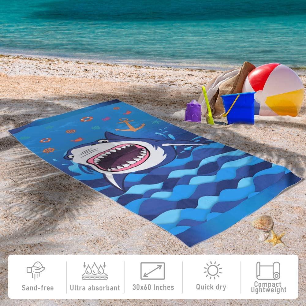 WERNNSAI Teli Mare a Squalo 76 /× 152cm Microfibra Blu Telo da Spiaggia Asciugatura Veloce Anti Sabbia Picnic Nuoto Bagno Coperta da Spiaggia Piscina Oceano Shark Articoli per Feste