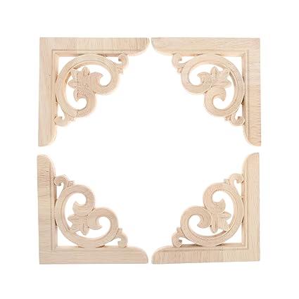 4Pcs Unpainted Wooden Carved Corner Onlay Applique Furniture Home Decor Oak Wood
