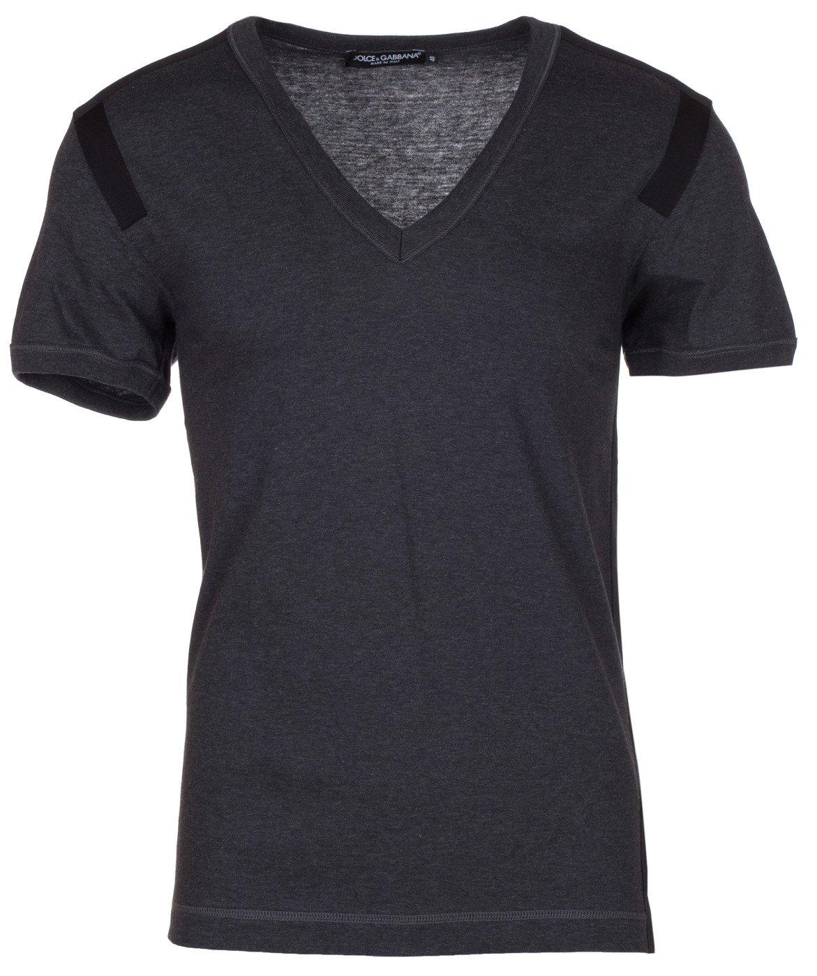 D&G Dolce & GabbanaMen's Charcoal Cotton V-Neck T-Shirt, IT 48 / US S, Gray