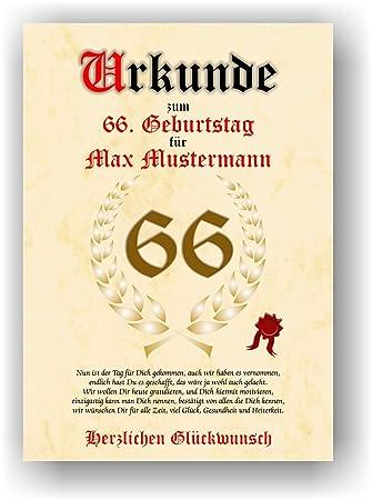 Urkunde Zum 66 Geburtstag Glückwunsch Geschenkurkunde Personalisiertes Geschenk Mit Name Gedicht Und Spruch Karte Präsent Geschenkidee Mann Frau