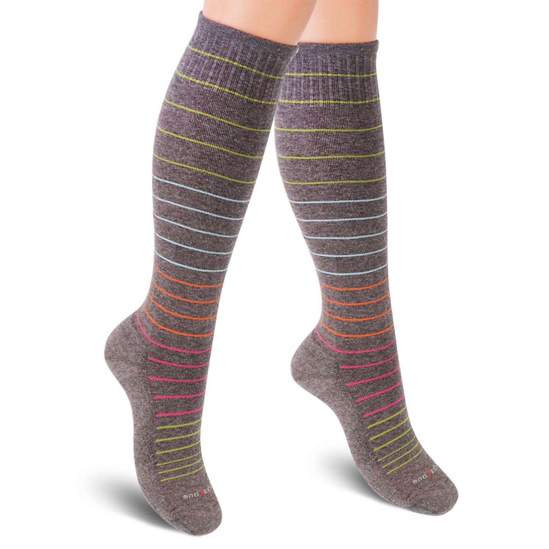 Cotton Compression Socks for Women. Ladies Support Stockings for Nurses, Travel, Flight, Pregnancy, Maternity, Varicose Veins, DVT, Athletics, Running, Sports. 15-20 mmHg Medical Sox. Knee High SocksLane