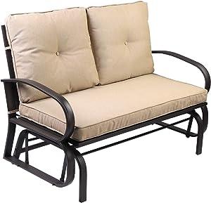 Aoxun Patio Loveseat Outdoor Patio Glider Rocking Bench,Porch Furniture Glider,Wrought Iron Chair Set with Cushion,Beige