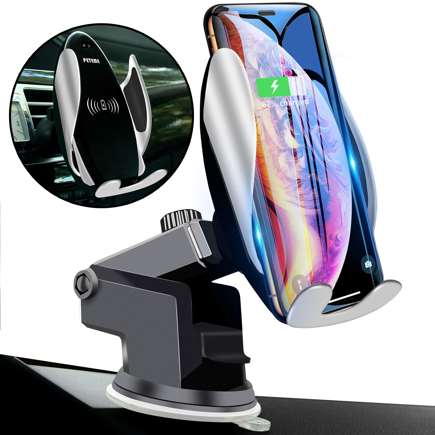 Qi Wireless Car Charger Mount Automatic Clamping Peteme Dashboard Air Vent Gravity Sensor Phone Holder Compatible with iPhone X/Xs MAX/XS/XR/X/8/8+,Samsung S10/S10+/S9/S9+/S8/S8+ by Peteme