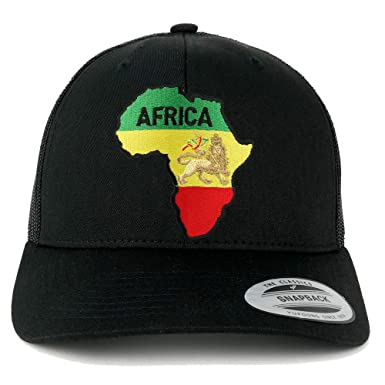 bd6abf9baf7ff RGY Africa Map and Rasta Lion Embroidered Iron On Patch Mesh Back Trucker  Cap - BLACK