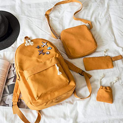 New 4Pcs Set Korean Casual Women Backpacks Canvas Book Bags Cute Plane  Badge Schoolbag for 4f1233deaeea7