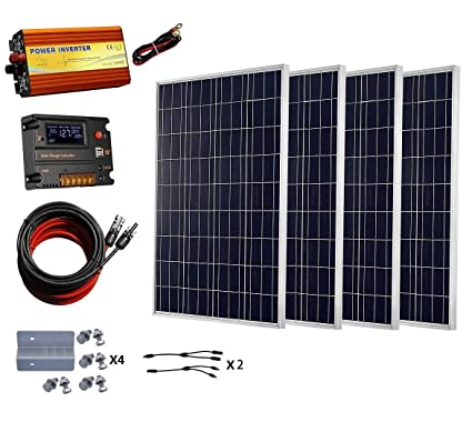 ECO-WORTHY 400 W Watt 400W Solar Panel with 1000W Pure Sine Wave Inverter  and Complete kit for RV, Boat, Off-Grid 24 Volt Battery Systems
