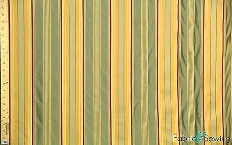 New Modern Two Tone Stripe Pattern Upholstery Curtain Yellow Orange Toned Fabric