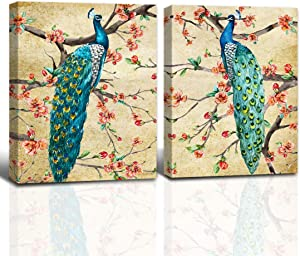 A Cup of Tea Retro Blue Peacocks Standing On Peach Blossom Tree Canvas Art Painting Elegant Animal for Home Office Wall Decor 2 Panels (12x16inch,Framed)