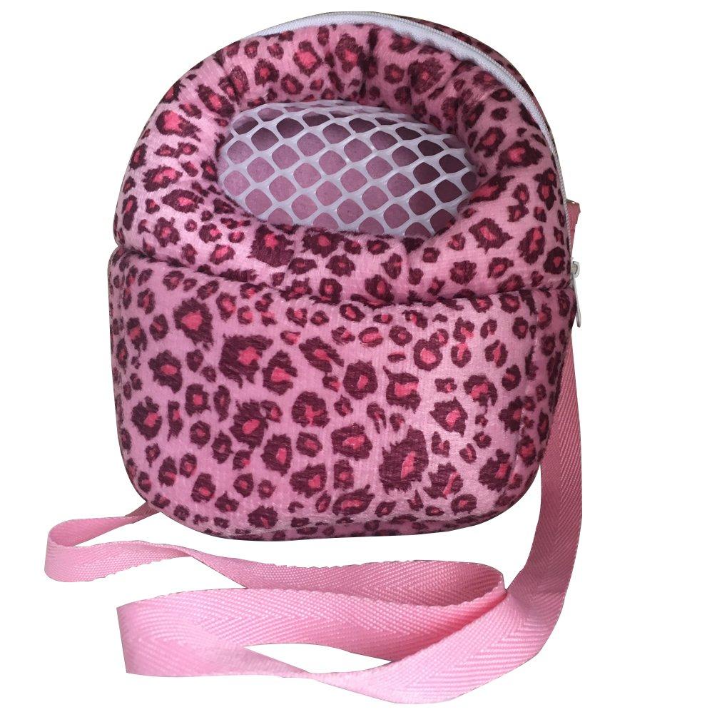 Leeotia Small Pet Carrier Bag Animal Outgoing Bag with Shoulder Strap Portable Travel Handbag Backpack for Hedgehog Hamster Mouse Rat Sugar Glider Squirrel Chinchilla (Large, Pink)