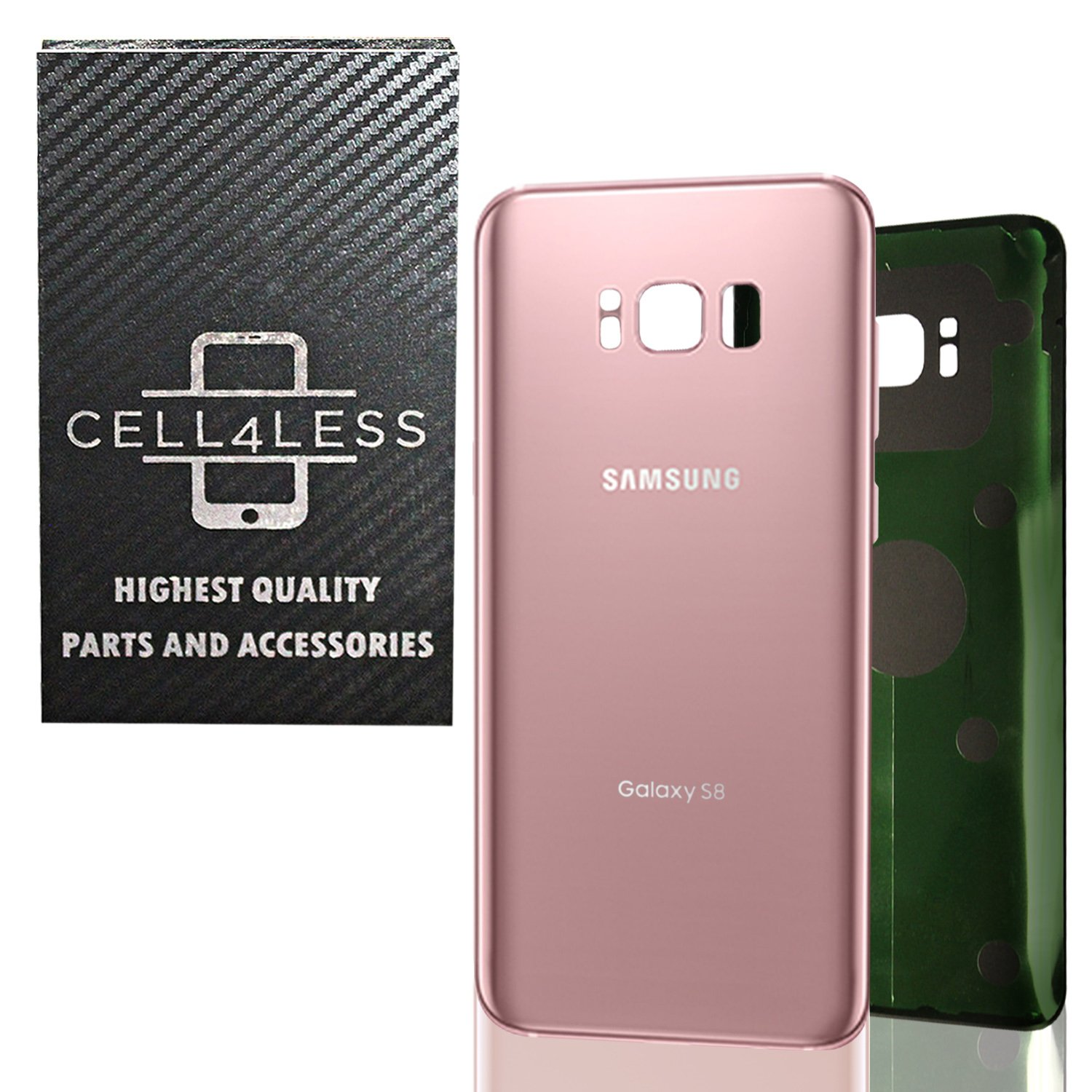 CELL4LESS Replacement Back Glass Cover Back Battery Door w//Pre-Installed Adhesive Samsung Galaxy S8 OEM All Models G950 All Carriers- 2 Logo OEM Replacement Orchid Grey