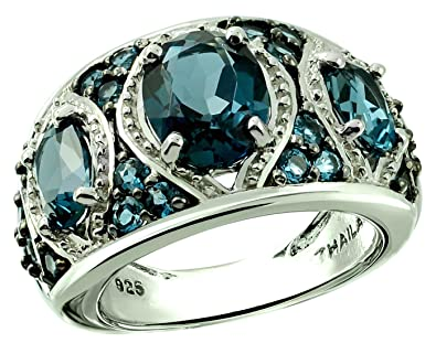 be95bc187b3b6 RB Gems Sterling Silver 925 Ring London Blue Topaz 5.12 Carats with  Rhodium-Plated Finish, 3-Stone-Style