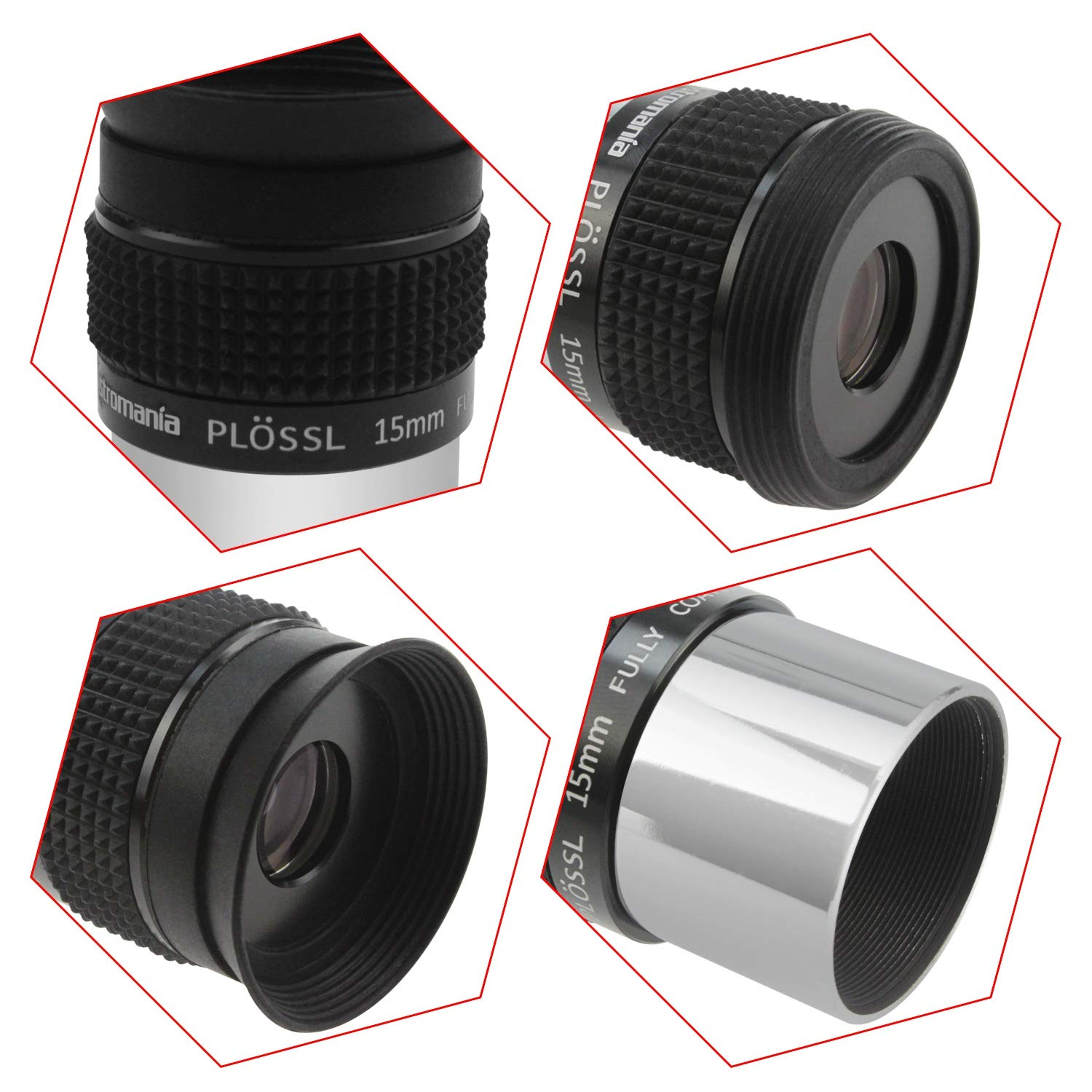 Astromania 1.25 10mm Plossl Telescope Eyepiece Threaded for Standard 1.25inch Astronomy Filters 4-Element Plossl Design