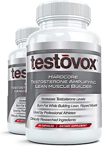 Testovox Hardcore Testosterone-Amplifying Lean Muscle Builder 60 Capsules, Pack of 2