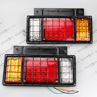 12V LED Tail Lights W/Iron Net Protection For ISUZU ELF N, F Series NPR NPR-HD NRR NQR NKR NHR FSR FRR Truck Tail Lamp 1 Pair (LH+RH): Automotive