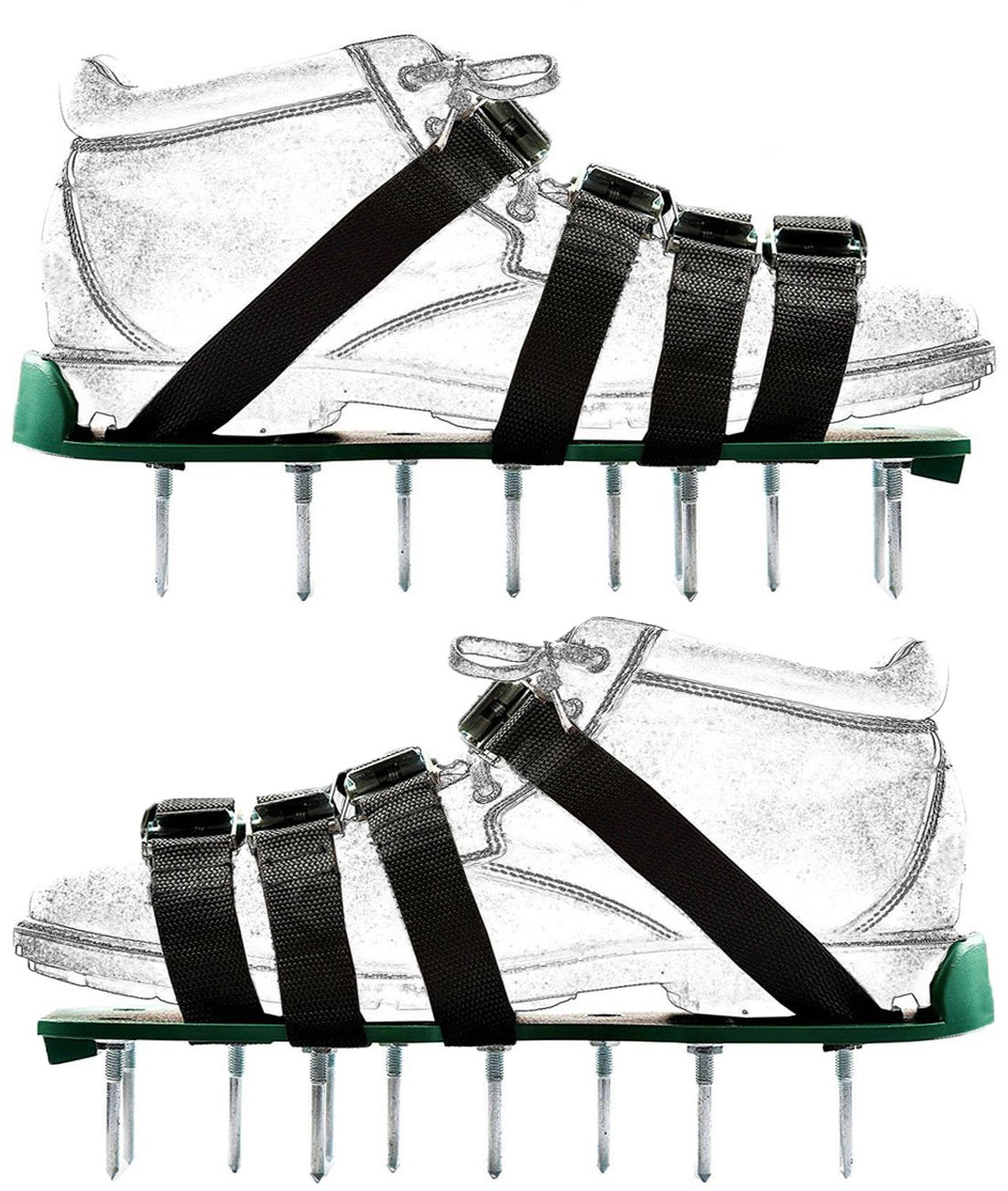 Bettli Lawn Aerator Shoes,Heavy Duty Aerating Spiked Soil Sandals with 4 Adjustable Straps and Metal Buckles for Aerating Your Lawn or Yard