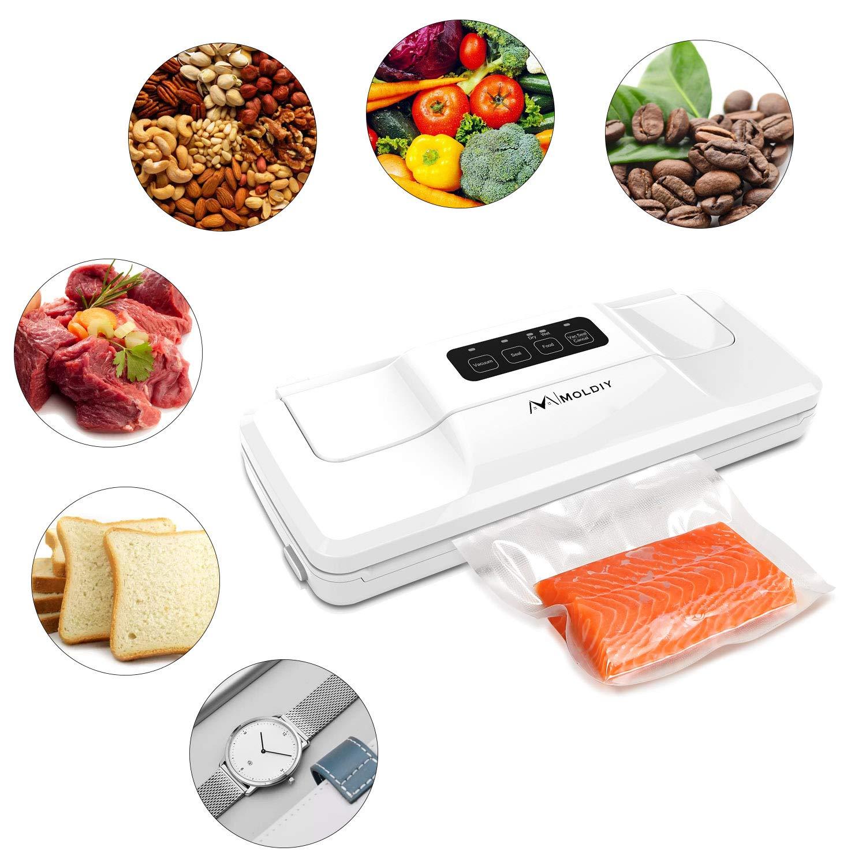 Moldiy Food Vacuum Sealer, Food Sealer Machines with 10 Bags, Automatic Food saver Vacuum Sealer Machines for Food Vacuuming Savers and Sous Vide